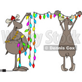Clipart of Cartoon Two Festive Moose Hanging Christmas Lights - Royalty Free Vector Illustration © djart #1362424