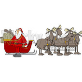 Clipart of a Team of Moose Ready to Pull Santas Christmas Sleigh - Royalty Free Vector Illustration © djart #1362425
