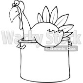 Clipart of a Cartoon Black and White Thanksgiving Turkey Bird Sitting in a Pot - Royalty Free Vector Illustration © djart #1362429
