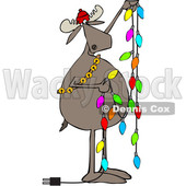 Clipart of a Cartoon Festive Moose Hanging Christmas Lights - Royalty Free Vector Illustration © Dennis Cox #1362432