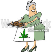 Clipart of a Cartoon Happy Chubby White Senior Woman Holding a Tray of Fresly Baked Marijuana Brownies and Wearing a Pot Leaf Apron - Royalty Free Vector Illustration © Dennis Cox #1363044