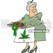 Clipart of a Cartoon Happy Chubby White Senior Woman Wearing a Pot Leaf Apron and Holding a Tray of First Place Fresly Baked Marijuana Brownies - Royalty Free Vector Illustration © djart #1363045