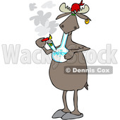 Clipart of a Cartoon Moose Smoking Pot with a Bong - Royalty Free Vector Illustration © djart #1363047