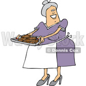 Clipart of a Cartoon Happy Chubby White Senior Woman Holding a Tray of Fresly Baked Brownies - Royalty Free Vector Illustration © djart #1363048