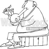 Clipart of a Cartoon Black and White Chubby Senior Man Lighting a Bong to Smoke Weed - Royalty Free Vector Illustration © djart #1363051