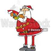 Clipart of a Cartoon Christmas Santa Claus Smoking Pot with a Pipe - Royalty Free Vector Illustration © djart #1363610