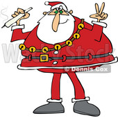 Clipart of Santa Claus Wearing His Christmas Suit, Holding a Joint and Gesturing Peace - Royalty Free Vector Illustration © djart #1363738