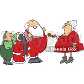 Clipart of Mrs Claus Handing Santa a Pipe While an Elf Helps Him Put on His Christmas Suit - Royalty Free Vector Illustration © djart #1363739