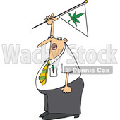 Clipart of a Cartoon Chubby White Businessman Shouting and Waving a Marijuana Flag - Royalty Free Vector Illustration © djart #1363741