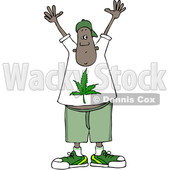 Clipart of a Cartoon Black Man Wearing a Pot Leaf Shirt and Holding His Hands up - Royalty Free Vector Illustration © djart #1363743