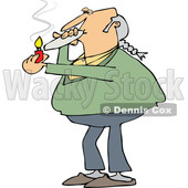 Clipart of a Cartoon Chubby White Male Hippie Man Smoking a Joint - Royalty Free Vector Illustration © djart #1363744