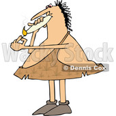 Clipart of a Cartoon Chubby Caveman Wearing Pot Leaf Patterned Leather and Smoking a Joint - Royalty Free Vector Illustration © djart #1363746
