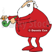 Clipart of a Cartoon Christmas Santa Claus in Pajamas, Lighting up a Pot Pipe - Royalty Free Vector Illustration © djart #1363748