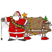 Clipart of a Cartoon Festive Christmas Santa Claus Decorating a Cow - Royalty Free Illustration © djart #1365760