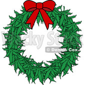 Clipart of a Cartoon Marijuana Pot Leaf Weed Christmas Wreath with a Red Bow - Royalty Free Vector Illustration © Dennis Cox #1365761