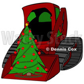 Clipart of a Cartoon Red Bobcat Skid Steer Loader with a Christmas Tree in the Bucket - Royalty Free Illustration © djart #1365762