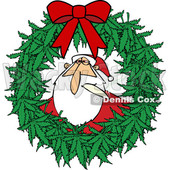 Clipart of a Cartoon Stoned Christmas Santa Claus Smoking a Joint Inside a Marijuana Pot Leaf Weed Christmas Wreath with a Red Bow - Royalty Free Vector Illustration © djart #1365763