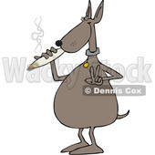 Clipart of a Cartoon Stoned Dog Gesturing Peace and Smoking a Joint - Royalty Free Vector Illustration © djart #1365765