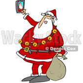 Clipart of a Cartoon Christmas Santa Claus Taking a Selfie with a Smart Phone - Royalty Free Vector Illustration © Dennis Cox #1366742