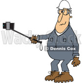 Clipart of a Cartoon White Male Worker in Coveralls, Taking a Selfie with a Phone on a Stick - Royalty Free Vector Illustration © djart #1370937