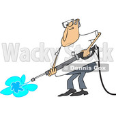 Clipart of a Cartoon Chubby White Man Pressure Washing - Royalty Free Vector Illustration © djart #1370938