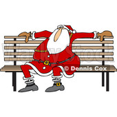 Clipart of a Cartoon Christmas Santa Claus Sitting on a Park Bench - Royalty Free Vector Illustration © Dennis Cox #1370948