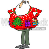 Clipart of a Cartoon Santa Claus Wearing an Ugly Christmas Sweater with Gifts and a Tree - Royalty Free Vector Illustration © djart #1370949
