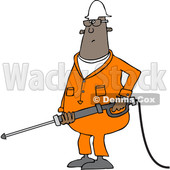 Clipart of a Cartoon Chubby Black Male Worker Pressure Washing - Royalty Free Vector Illustration © djart #1370950
