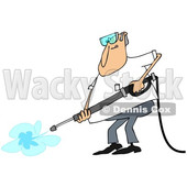Clipart of a Cartoon Chubby White Man Wearing Protectove Goggles and Pressure Washing - Royalty Free Vector Illustration © djart #1370952