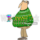 Clipart of a Cartoon Chubby White Man Wearing an Ugly Christmas Sweater and Holding a Glass of Wine at a Party - Royalty Free Vector Illustration © djart #1370953