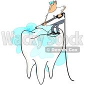 Clipart of a Cartoon White Man Pressure Washing the Top of a Tooth, on a White Background - Royalty Free Illustration © djart #1370954
