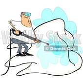 Clipart of a Cartoon White Man Pressure Washing a Giant Tooth, on a White Background - Royalty Free Illustration © Dennis Cox #1370955
