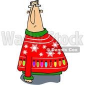 Clipart of a Cartoon Chubby White Man Wearing a Snowflake and Lights Ugly Christmas Sweater - Royalty Free Vector Illustration © djart #1371203