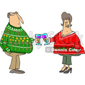 Clipart of a Cartoon Chubby White Couple Holding Glasses of Wine and Wearing Ugly Christmas Sweaters at a Party - Royalty Free Vector Illustration © Dennis Cox #1371206