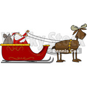 Clipart of a Moose Pulling Santa in His Christmas Sleigh - Royalty Free Vector Illustration © djart #1371571