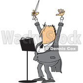 Clipart of a Cartoon Chubby White Male Music Conductor Holding up an Arm and Wand - Royalty Free Vector Illustration © djart #1371795