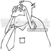Clipart of a Cartoon Black and White Chubby Business Man Blowing His Nose into a Tissue - Royalty Free Vector Illustration © djart #1371800
