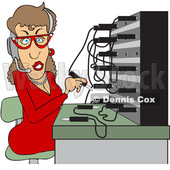 Clipart of a Cartoon Caucasian Female Switchboard Operator at Work - Royalty Free Vector Illustration © djart #1372567