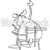 Clipart of a Cartoon Black and White Student Moose with a Question, Raising a Hoof at a Desk - Royalty Free Vector Illustration © djart #1373279