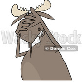 Clipart of a Cartoon Scared Moose Covering His Face - Royalty Free Vector Illustration © djart #1373282