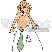 Clipart of a Cartoon White Scared Business Man Covering His Face with His Hands - Royalty Free Vector Illustration © Dennis Cox #1373288