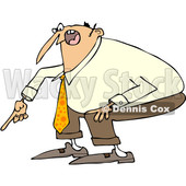 Clipart of a Cartoon Angry White Business Man Yelling and Pointing at the Ground - Royalty Free Vector Illustration © djart #1373290