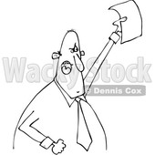 Clipart of a Cartoon Black and White Angry Business Man Shouting and Holding up a Document - Royalty Free Vector Illustration © djart #1373291