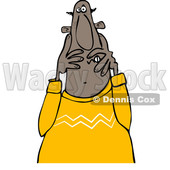 Clipart of a Cartoon Scared Black Man Covering His Face - Royalty Free Vector Illustration © djart #1373294