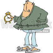 Clipart of a Cartoon Chubby Grumpy White Man Wearing Pajamas and Bunny Slippers and Holding an Alarm Clock - Royalty Free Vector Illustration © Dennis Cox #1373296