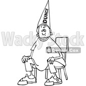 Clipart of a Cartoon Black and White Boy Wearing a Dunce Hat and Sitting in a Chair - Royalty Free Vector Illustration © djart #1373299
