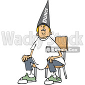 Clipart of a Cartoon Blond Caucasian Boy Wearing a Dunce Hat and Sitting in a Chair - Royalty Free Vector Illustration © djart #1373300