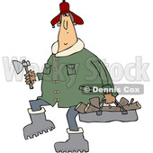 Cartoon Clipart of a Chubby White Man in a Winter Coat and Hat, Walking and Carrying Firewood and an Axe - Royalty Free Vector Illustration © djart #1373903