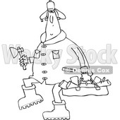 Cartoon Clipart of a Black and White Chubby Man in a Winter Coat and Hat, Walking and Carrying Firewood and an Axe - Royalty Free Vector Illustration © djart #1373904