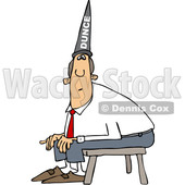 Cartoon Clipart of a Chubby White Business Man Wearing a Dunce Hat and Sitting on a Stool - Royalty Free Vector Illustration © djart #1373905